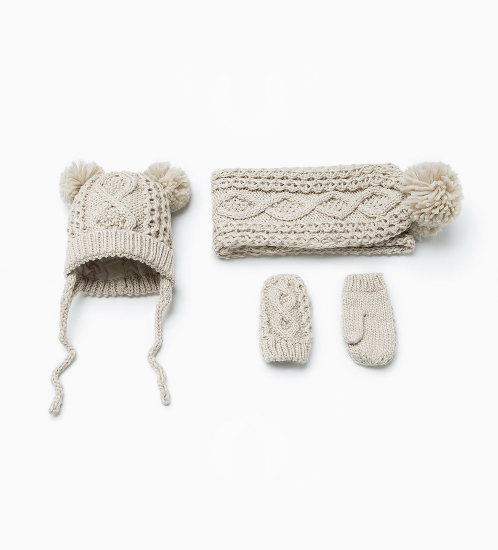 baby, it's cold outside! this luxe-looking cable knit combo will keep your baby or little kid warm & cozy. pieces sold separately at zara. get it  here.
