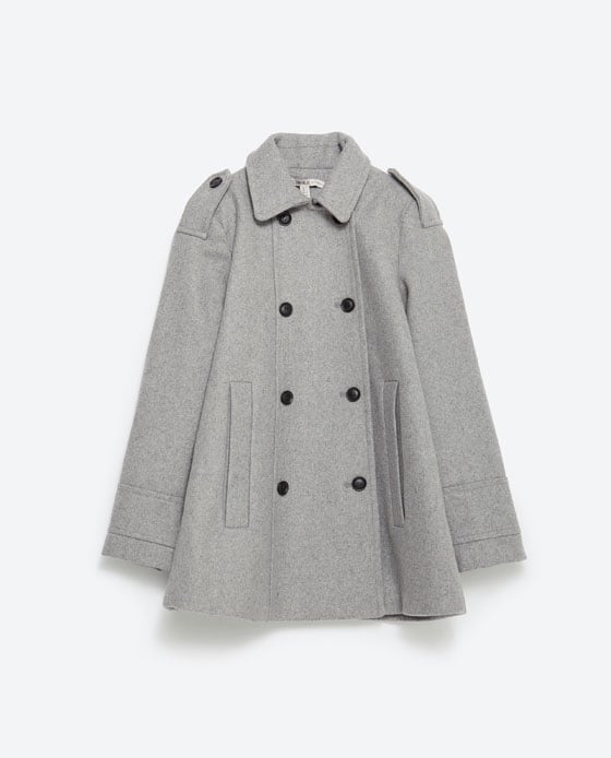 this wool coat has a bit of a swing to it. it's a neutral color with a fun silhouette. get it  here  at zara.