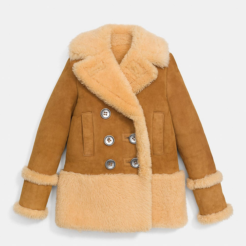 this shearling is gorgeous. even though it wouldn't make the essentials list, it is a classic. get it  here  at coach.