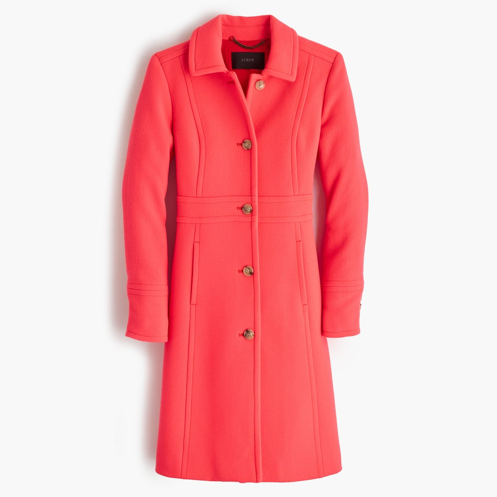 this coat would look great on anyone; the clean lines make it a solid choice even with the punchy color. and yes, it comes in black, too. get it  here  at j crew.