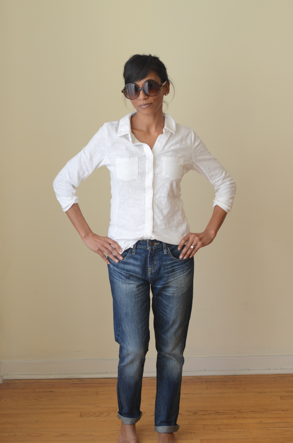 if you've been reading the blog, you know this is style recipe no. 1: jeans + white top. works every time, and this version (including the glasses) was less than $100. all target.