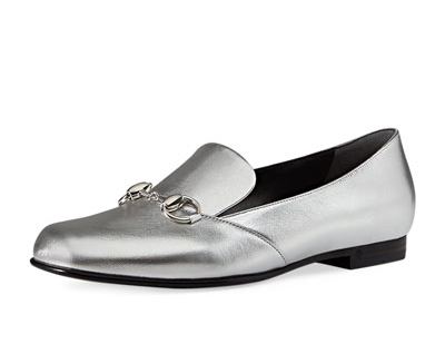 these loafers are conservative, but the metallic color and shape spice things up and make them very modern. i would wear these with jeans all the time; black pants + sweater for work; and white in spring & summer. perfection! by gucci. get them here.