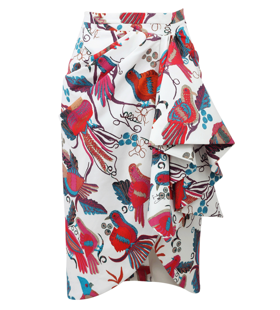 i love all this color and pattern at work together. this is a lively piece that i would definitely wear with a fitted, solid on top, but would cheer on some of you more heroic fashion fans if paired with a coordinating print. by stella jean. get it  here.