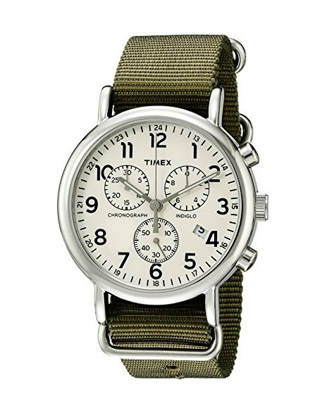 the timex brand is an old school classic. this one is designed for men, but so what. i think watches on the larger side are way better; they catch the eye. dainty watches with small faces are just not modern. by timex. get it  here.