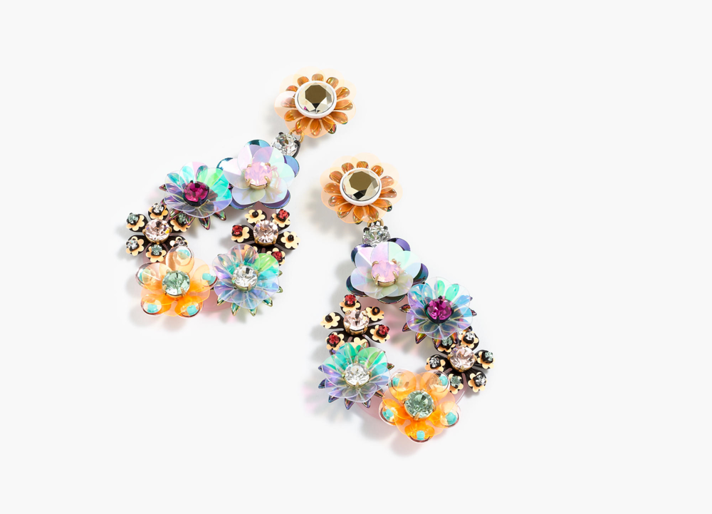 sequin & crystal rose earrings  $88