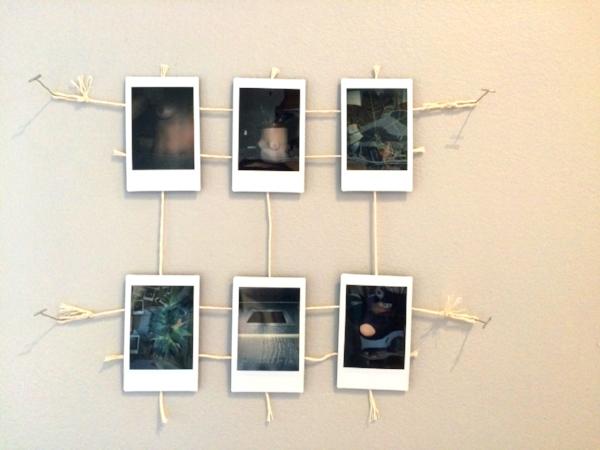 6 photographs, tape, string