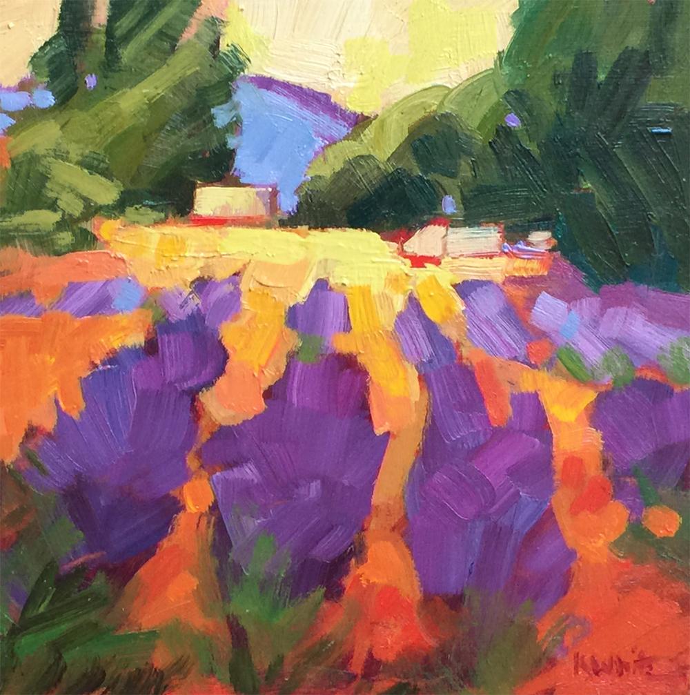 Lavender Farm, Peach Sky