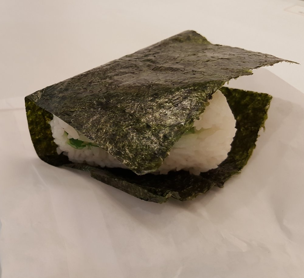 The omusubi unwrapped