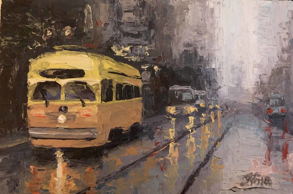 Yellow Street Car on Market Street