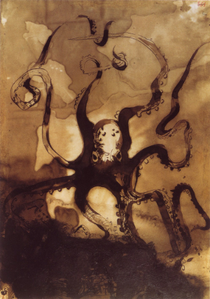 Victor Hugo  Octopus with the initials V.H  1866
