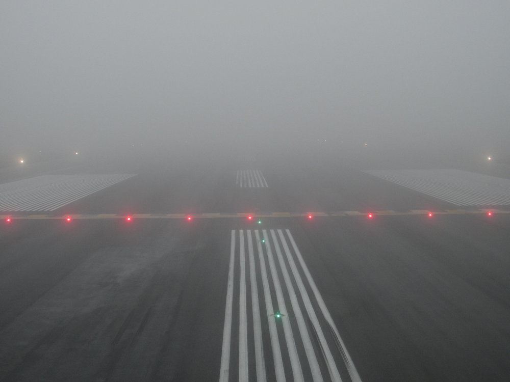 Holding short in the foggiest airport in North America
