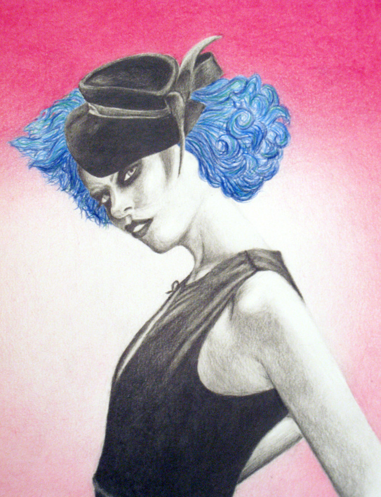"""Merry the Night"".   Fashion illustration, colored pencil & graphite on paper.  11x14"".  2009."
