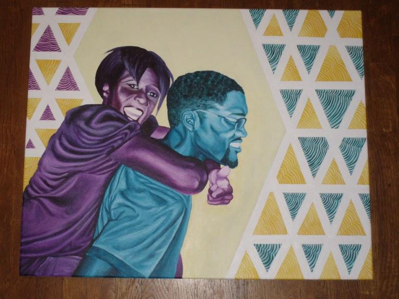 ''Three Amigos''.  Acrylic on canvas. 2x3'. 2010.