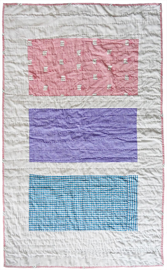 "Milwaukee Women's Center Quilt 1, 2018, 35"" x 58""   cotton  / salvaged women's sheet, men's dress shirt"