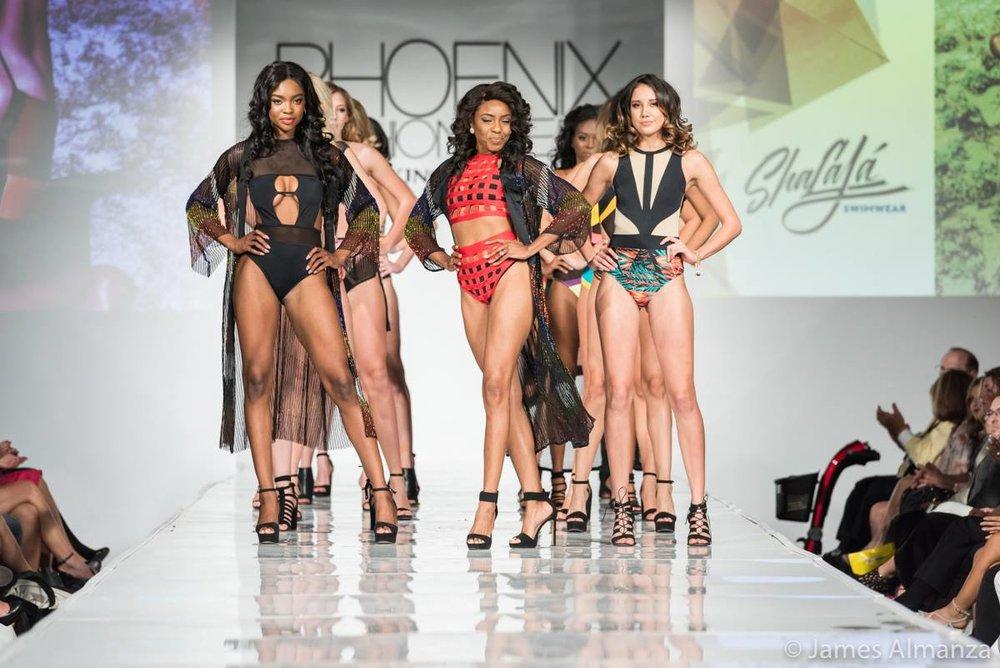 Shaquoya Jackson (center) and her swimwear line : Shalaja Swimwear .Credit: Phoenix Fashion Week | James Almanza