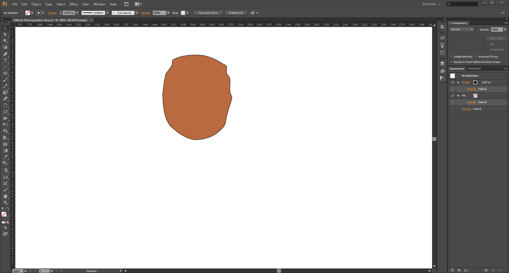 Pen Tool - we traced out a rough outline of Russ' face from the sketch that's above.