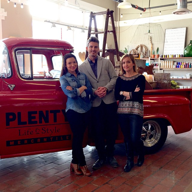 Pictured: Brittney Matlock, Chris England, and Traci Walton (2015) in front of their red 1957 Chevy Pickup. (Photo via  @plentymercantile )