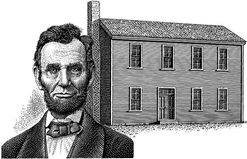 Abraham Lincoln Portrait And Home In Illinois