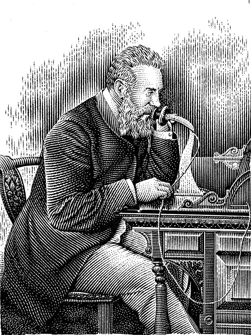 Alexander Graham Bell Talking On Telephone