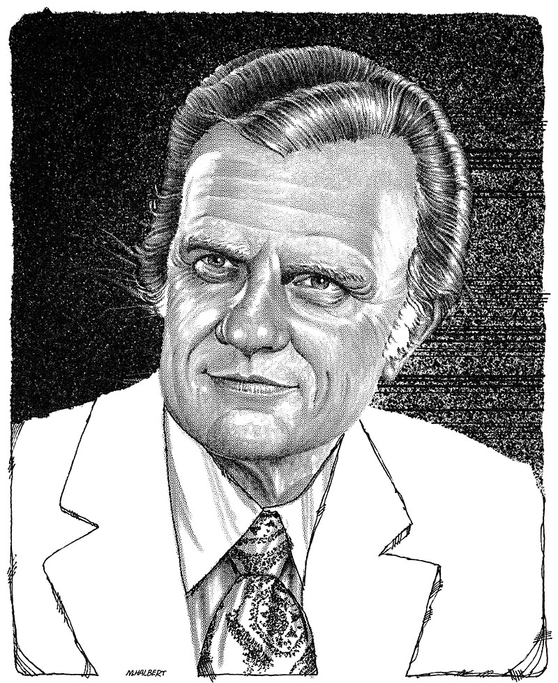 Black and White Stipple Portrait of Billy Graham