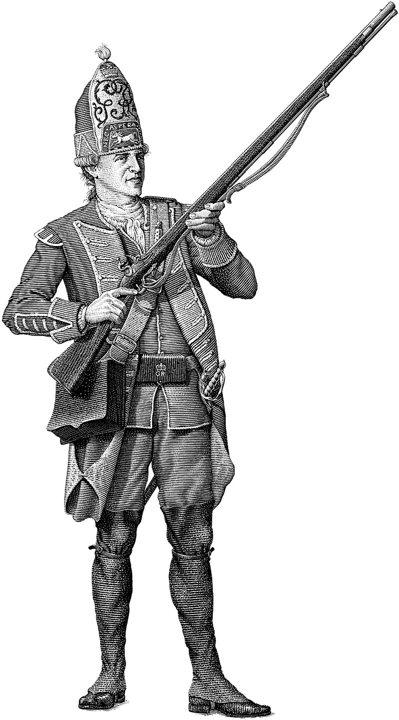 British Revolutionary Soldier in Uniform with Rifle