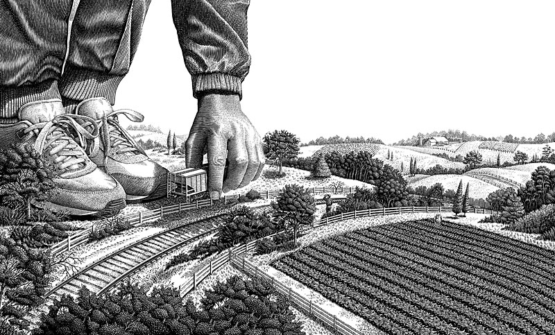 Running With Farmers illustration