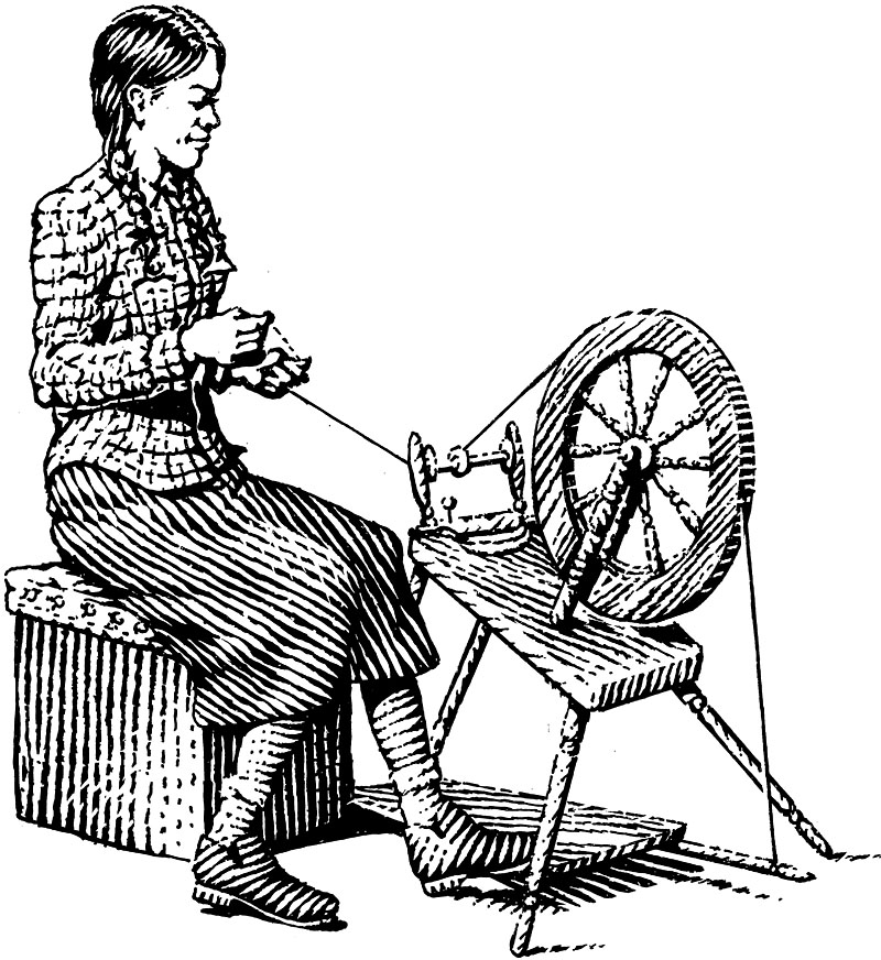 Country Girl at Spinning Wheel