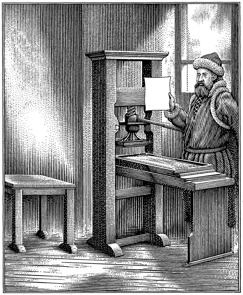 Drawing of Gutenberg at His Printing Press