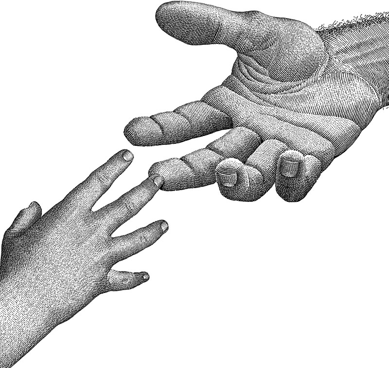 Man's Hand Reaching Out To A Child's Hand