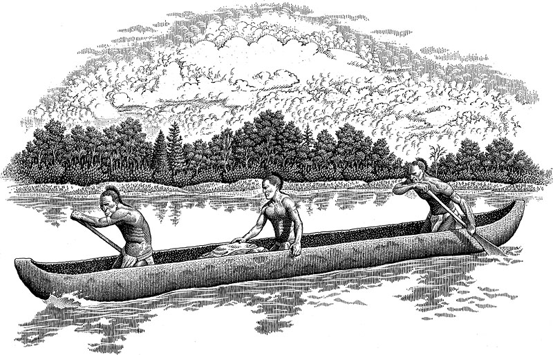 Missouri Indians In A Canoe