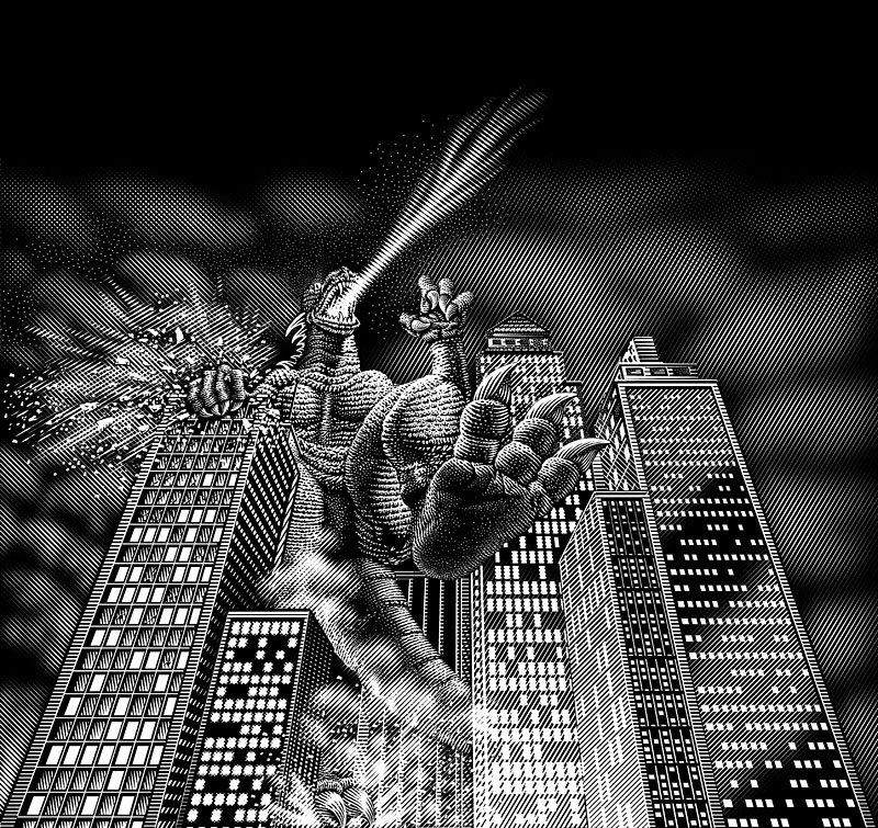 Monster Destroying a City