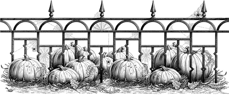 Halloween Pumpkins And Iron Fence