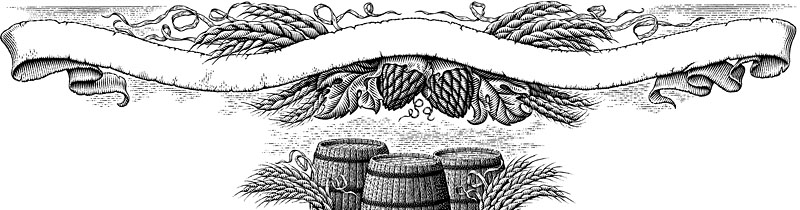 Hops, Barley, Beer Barrel, and Ribbon