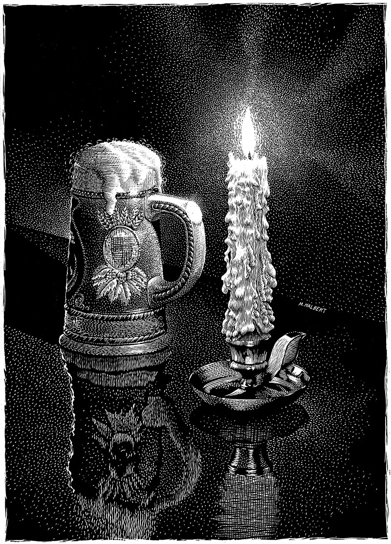Beer Stein And Burning Candle