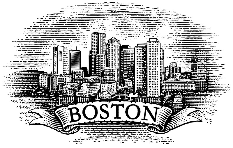 Boston Skyline With Ribbon