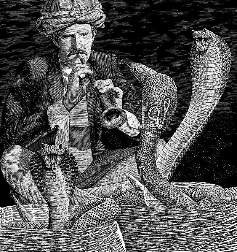 Businessman Snake Charmer–Controlling Risk