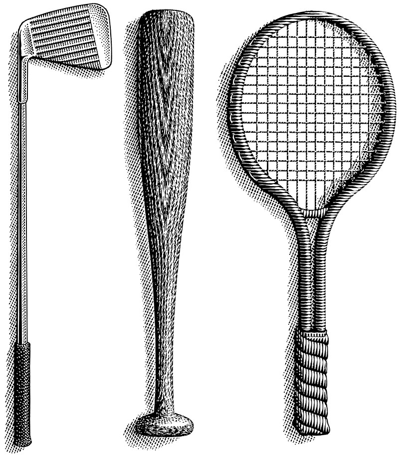 Golf Club, Tennis Racquet, Baseball Bat