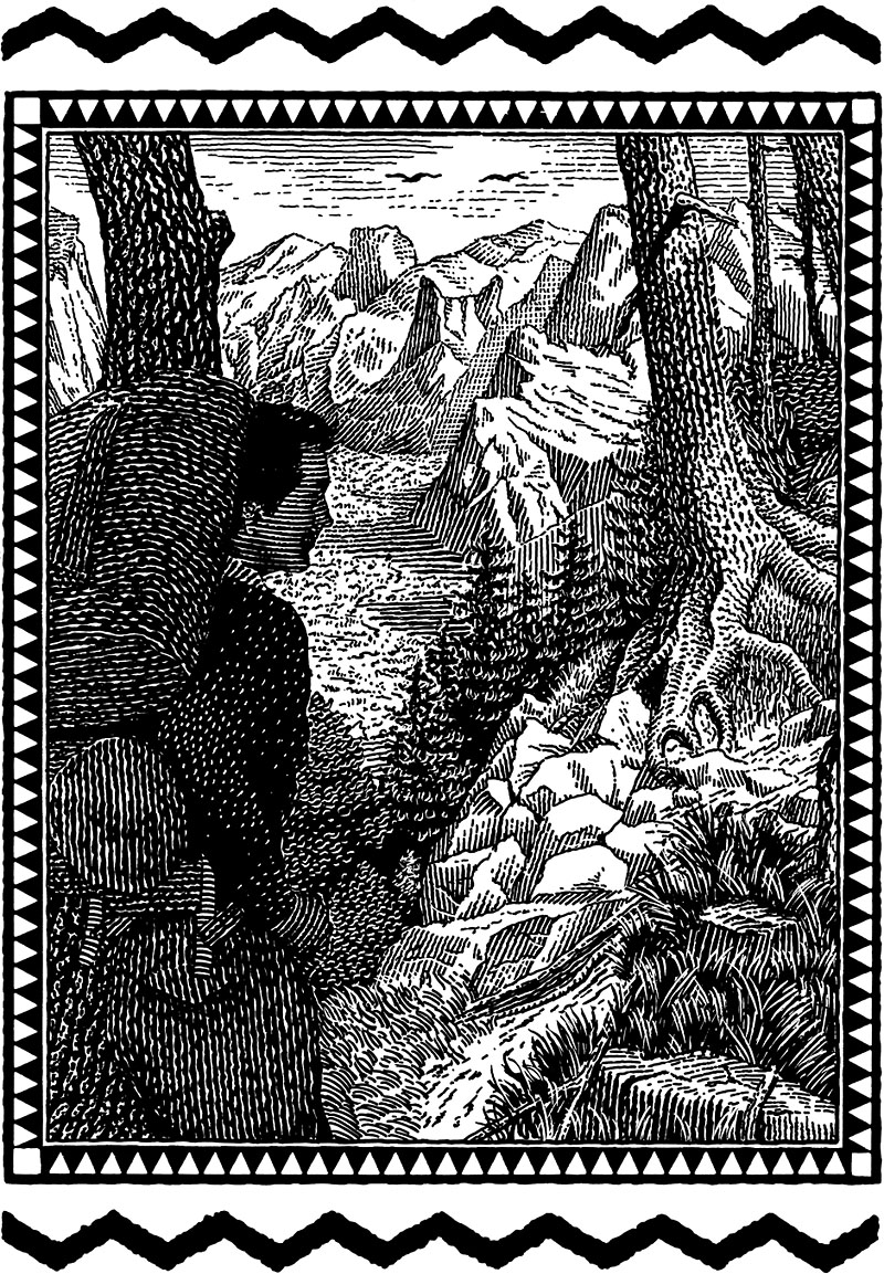 Hiker In A Mountain Scene