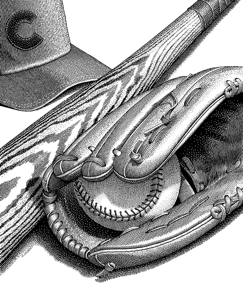 Baseball Glove, Softball Bat, Baseball Hat And Softball