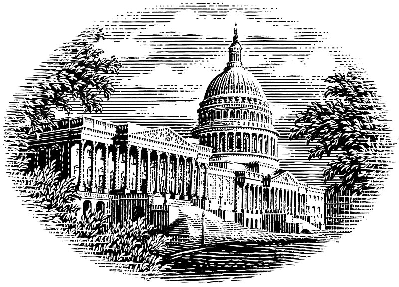 "Drawing Info: Scratchboard illustration of the U.S. capital building, drawn by hand with a woodcut or engraving look. (pen and ink on scratchboard) Original art 5.7 inches wide by 4.1 inches tall.  Reproduction rights are available for United States Capital Building illustration . The fee is based on how the image will be used, and the size and complexity of the original art.    Send a message from my "" Contact "" page to get a quote for usage and more information about this stock illustration  (please include the image title in the message). Or call 636-349-1145."