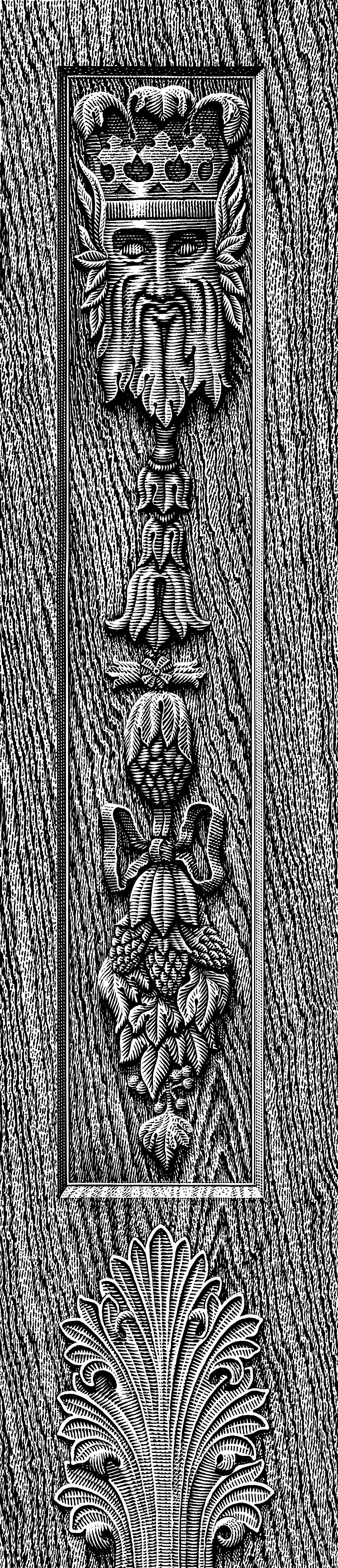 Hops, Barley And Kings Head Carved In Wood