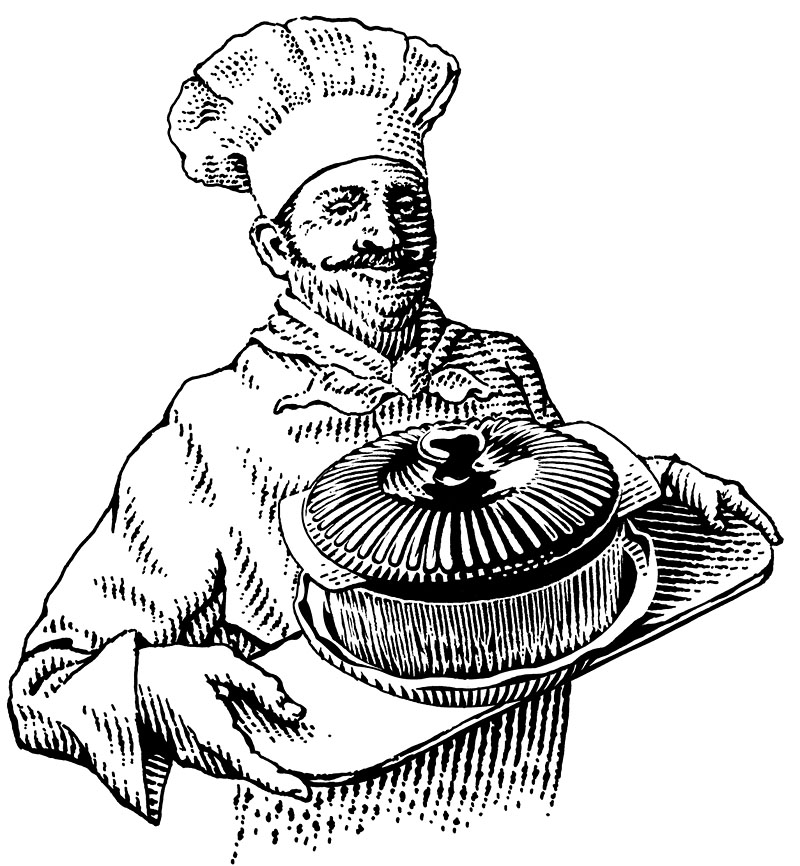 Chef with s Covered Dish