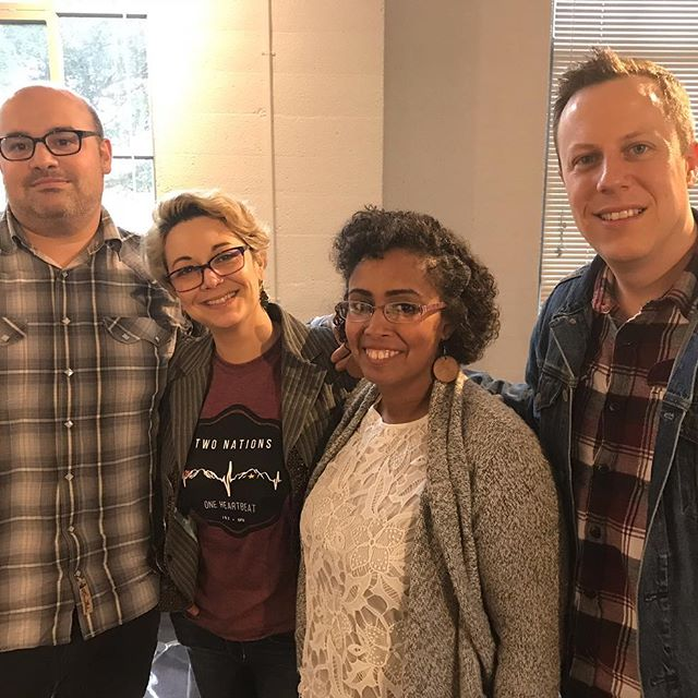 - L to R: Beto O'Byrne, Georgina Escobar, Jasminne Mendez, and Trevor Boffone after the playwrights' panel at Sin Muros.
