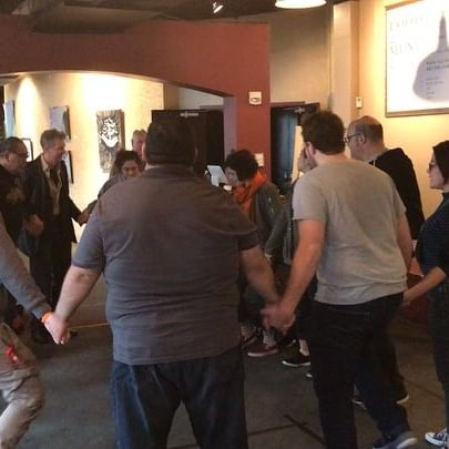 CAST AND CREATIVE TEAM DOING THE EL TEATRO CAMPESINO STOMP!