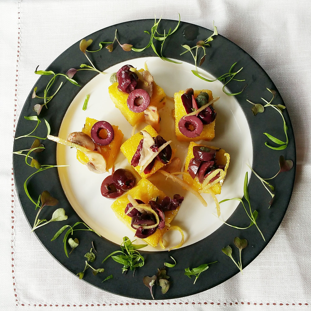Incredibly moreish, little savoury (dairy free) polenta bites are perfect with Sparkling or a crisp white wine as an appetiser.