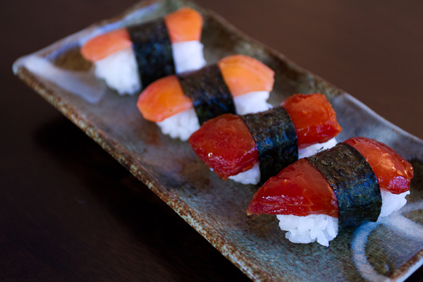 Pressed Watermelon Sushi