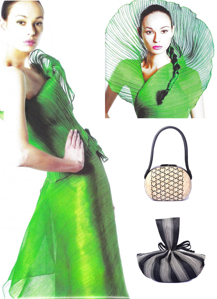 Oh so glamorous... So who would guess these handbags and dress are made from banana fiber?