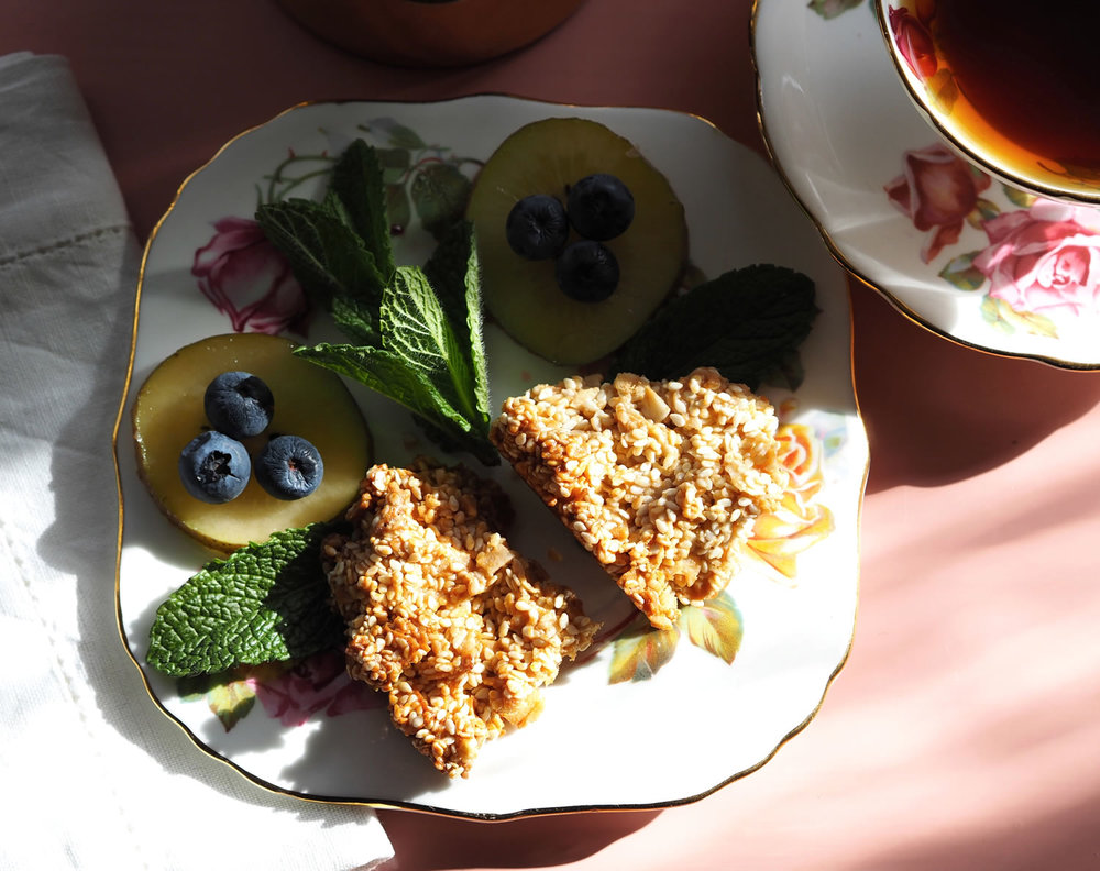 Served with fresh fruit, the crunchy texture of the sesame seed creates a delicious combination.