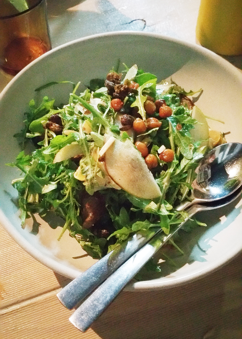 Artichoke & Smoked Pear Salad : with roquette, chickpeas, toasted almonds & fried capers.