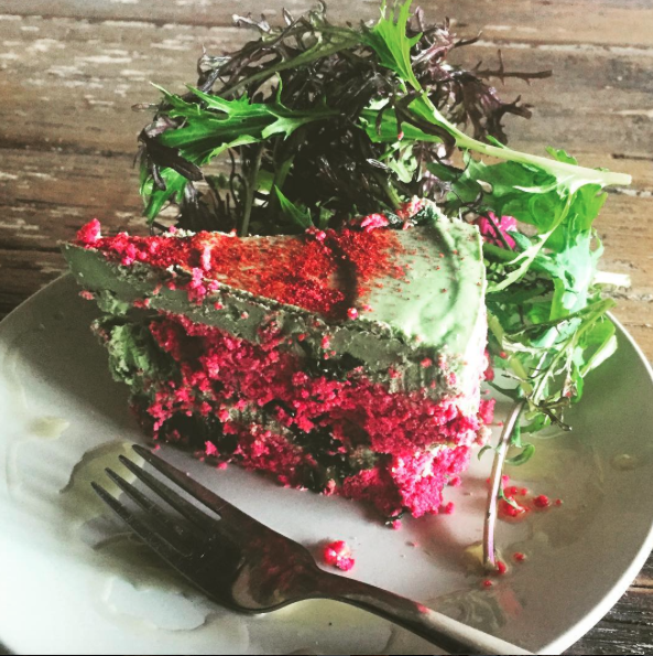 Savoury, raw layered cake from  Shoku Iku : made with avocado, coconut, spirulina and beetroot.
